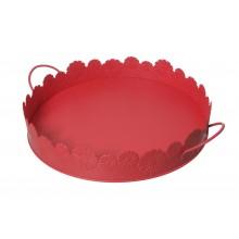 Vassoio in metallo circolare con manici rosso
