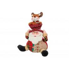 Babbo Natale con copricapo e renna sopra