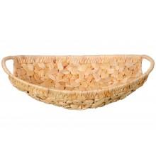Cesto intrecciato in fibra vegetale ovale