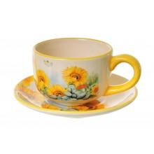 Tazza girasole in ceramica da thè e caffè con piattino