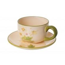 Tazza floreale in ceramica da thè e caffè con piattino