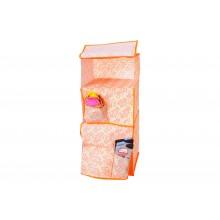 Portaoggetti organizer in tessuto da appendere con 3 scomparti arancione