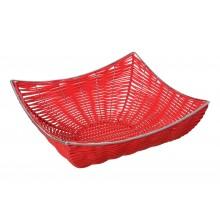 Cestino intrecciato in fibra e metallo rosso