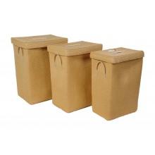 Set 3 cestini portatutto rettangolari beige
