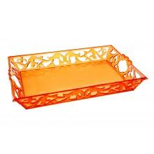 Vassoio in plastica rettangolare arancione con manici