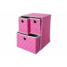 Cassetti organizer in tessuto 3 cassetti per armadio rosa