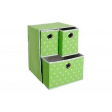 Cassetti organizer in tessuto 3 cassetti per armadio verde