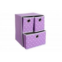 Cassetti organizer in tessuto 3 cassetti per armadio viola