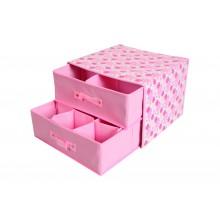 Cassetti organizer in tessuto 2 cassetti per armadio rosa