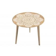 Tavolino rotondo con top in vetro e legno di abete