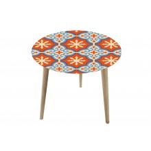 Tavolino rotondo con top in vetro e legno di abete piccolo