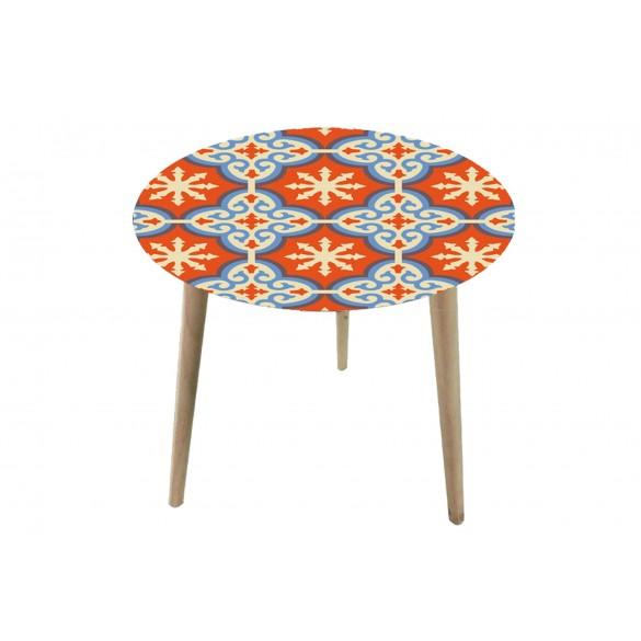 Tavolino rotondo con top in vetro e legno di abete medio