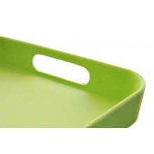Vassoio in plastica rettangolare con bordo e manici dettaglio