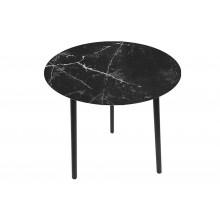 Tavolino effetto marmo rotondo con top in vetro e legno piccolo