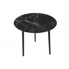 Tavolino effetto marmo con top in vetro e legno medio