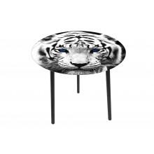 Tavolino fantasia tigre con top in vetro e legno medio