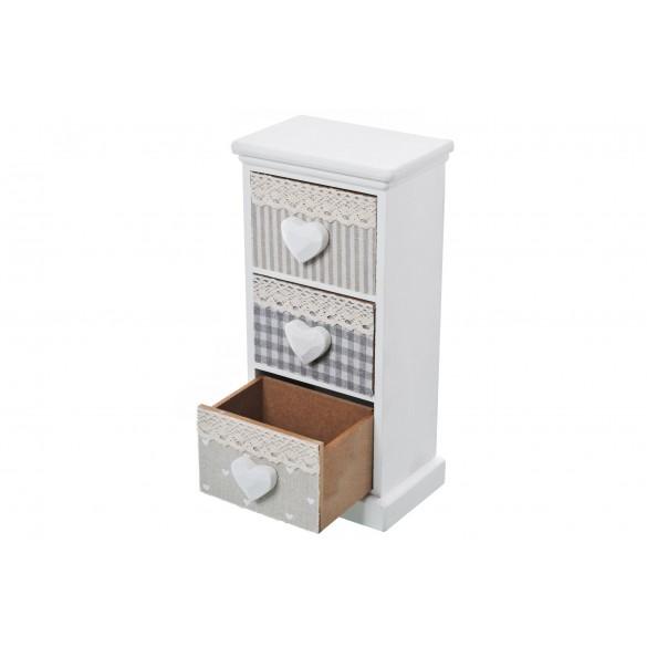 Mobiletto cassettiera portatutto 3 cassetti bianco con cassetto aperto